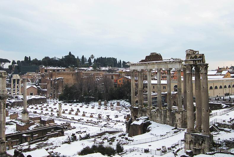 City-trip à Rome sous la neige